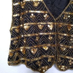 Vintage Jackets & Coats - Vintage silk and sequin vest black gold bling
